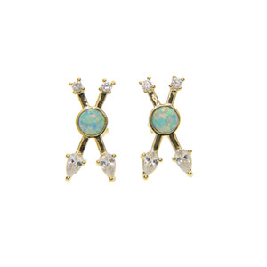 Wholesale fashion european Criss X design White cz with green fire opal unique fashion classic women ladies k gold plated cross earring