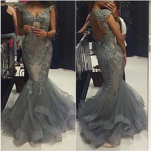 Sparkly Silver Beaded African Prom Dresses Long Cap Sleeves Sexy Open Back Mermaid Formal Evening Gowns Party Dress Plus Size on Sale