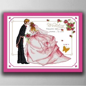 Wholesale kiss cartoon for sale - Group buy Promise of Love wedding kiss cartoon paintings Handmade Cross Stitch Embroidery Needlework sets counted print on canvas DMC CT CT