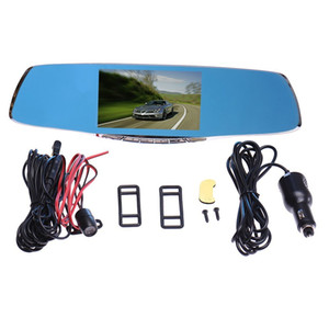 Wholesale Double Camera Rearview Mirror Dash Cam Dashcam Driving Record Inch Blue Mirror G Sensor PZ912 CAR DVR H Cycle Recording