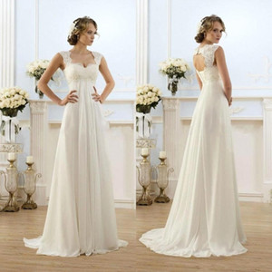 2019 New Cheap Romantic Beach A-line Wedding Dresses Cap Sleeve Keyhole Lace Up Backless Chiffon Summer Floor Length Bridal Gowns on Sale
