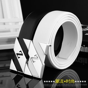 Manufacturers spot wholesale leather belt buckle letter male personality smooth men belt Korean male light belt on Sale
