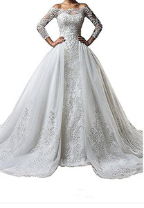 Vintage Bateau Neck Lace Long Sleeve Wedding Dresses With Detachable Skirt Plus Size Illusion 2018 Train vestido de noiva Bridal Gown Ball