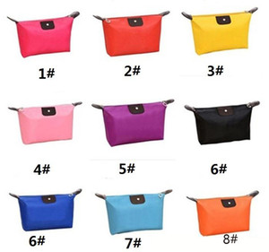 Wholesale New Korean Candy Color Women Bag Folding Handbag Storage Waterproof Purse Make Up Bags For Ladies Cosmetic Bags a691