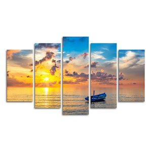 Wholesale 5 Panels HD Printed Seascape Canvas Prints Golden Sea Photo Giclee Prints Nature Landscape Painting Digital Prints Non Frame SJMT1871