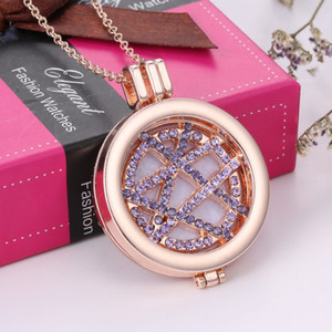 Wholesale aromatherapy necklace for sale - Group buy Alloy Crystal Coin Disc Pendant Necklace Aromatherapy Locket Women Openable Essential Oil Diffuser Necklace Christmas Gift