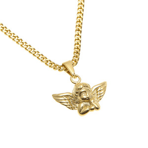 Wholesale Stainless Steel Gold Angel Wings Pendant Men Women Fashion Jewelry High Quality Hip hop Angel Boy Pendant Necklace Gift