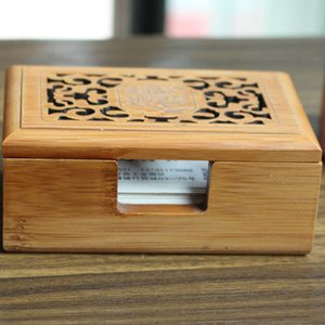 Wholesale Vintage Hollow Out Wooden Business Card Storage Box Jewelry Makeup Organization Desktop Decoration Home Office Supplies ZA3193