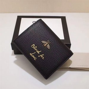 Wholesale Hot quality Genuine Leather women mini wallets Fashion brand ladies purse Card holder pocket Fashion Purse Card Case with Metal bee