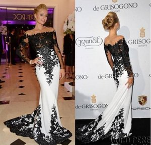 Wholesale Byparis Hilton De Grisogono Fatale Long Sleeve Evening Dresses in Cannes France May Off Shoulder Black White Celebrity Red Carpet Dresses