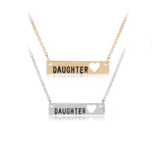 Wholesale Personalized Hand Stamped Daughter Pendants Necklaces Silver Plated Necklace Women Jewelry Charm Gift For Family Girl