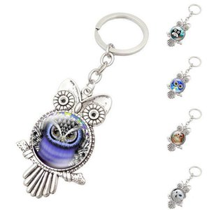 Wholesale New Retro Owl Key Rings Glass Cabochon Pendant Keychains Fashion Metal Key Ring Christmas Gift