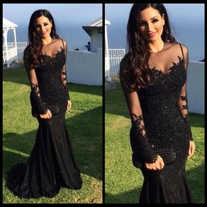 Wholesale Sexy Black Appliques Sheer Long Sleeve Mermaid Evening Dresses Long 2017 Prom Gown Party Dress Vestido de noche robe de soiree