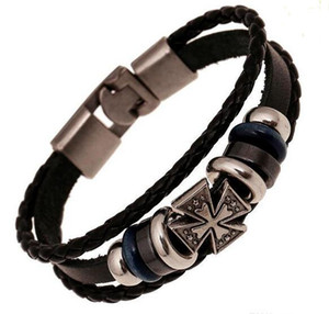 Fashion Jewelry anchor Alloy Leather Bracelet Men Casual personality PU Woven Beaded Bracelet Vintage Punk Bracelet Women on Sale