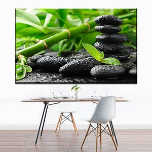 Wholesale ZZ657 modern decorative canvas art bamboo stone canvas pictures oil art painting for livingroom bedroom decoration unframed art