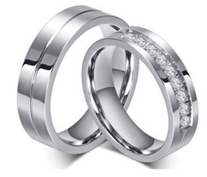 Wedding Ring 6mm 316L Stainless steel Couple Ring Wedding Bands Rings for Women   Men Love Stainless Steel CZ Promise Jewelry