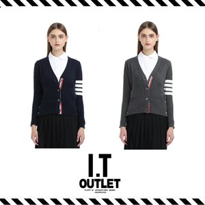 Wholesale- Best Version 16 Fall Winter Brand Clothing TB Four Stripes Wool Sweater Cashmere Cardigan Fashion Coat Pattern Lovers Knitwear