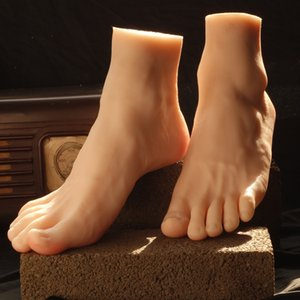 Wholesale Man fake foot model real medical silicone skin texture male fake feet Foot Fetish adult products free model or for display