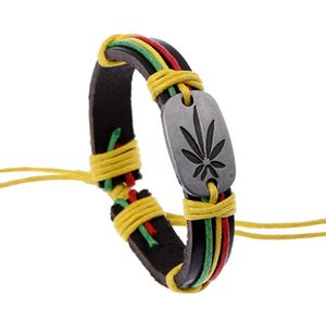 Jamaica Bracelets Red Yellow Green Mixed Leather Bracelet For Men Alloy Leaf Adjustable Size Bracelets 10PCS Free Shipping on Sale