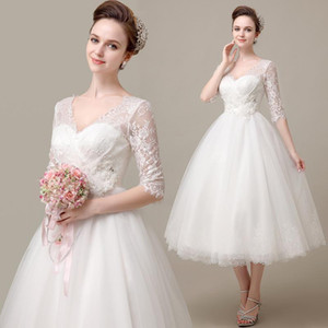Wholesale 2017 Fantastic Nice V neck White Ivory Sleeve Ball Gown Short Wedding Dress Tea Length Bridal Lace Dress Formal Stock Dress