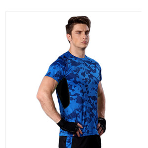 Leopard men's sports shirt, comfortable, quick-drying breathable running instructor clothes, men and women in Europe and America fitness T-s