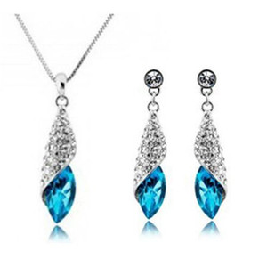 Wholesale Austria Crystal Full Diamond Pendant Necklace And Earrings Set for Women Jewelry Sets Cheap Xmas Wedding Gift Top Fashion High Quality