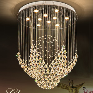 K9 Crystal Chandeliers LED Lamp Modern Chandelier Lights Fixture Home Indoor Lighting Hotel Hall Lobby Stair Round Long Crystal Drop Light