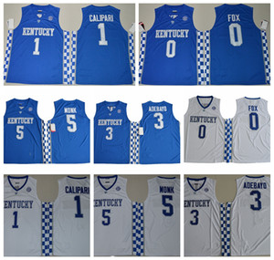camisola do basquetebol kentucky venda por atacado-2017 Kentucky Wildcats Faculdade Basquete Jerseys De Aaron Fox Malk Monk Edrice Adebayo John Calipari Camisa University Jersey