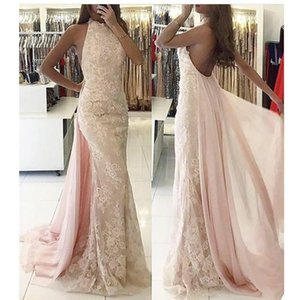 Pink High Neck Full Lace Mermaid Prom Dresses 2017 Sleeveless Backless Floor Length Formal Evening Gowns With Chiffon Overskirt