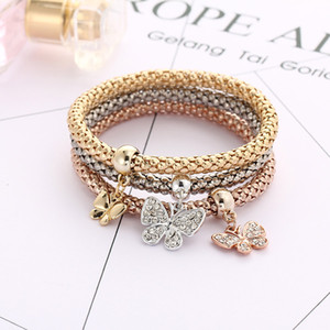 Wholesale Classics explosion proof three colors suit women elastic rhinestones butterfly chain diamond pendant gold silver rose gold bracelet