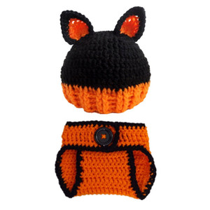 Newborn Knit Fox Costume,Handmade Crochet Baby Boy Girl Fox Animal Beanie Hat and Diaper Cover Set,Infant Halloween Costume Photo Props