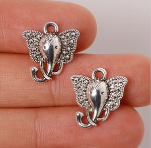 Wholesale braclets for charms for sale - Group buy 200pcs Zinc Alloy Antique Silver Plated Elephant Charms Pendants Jewelry Findings For Necklace Braclets mm