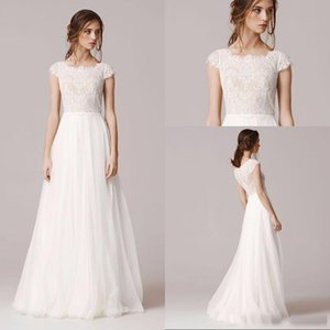 Wholesale 2017 Cheap A Line Chiffon And Lace Wedding Dresses Caped Sleeves Jewel Neck Floor Length Bridal Gowns Zip Full Back