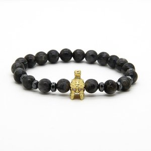 Wholesale men s bracelets resale online - Men S Charm Bracelets mm Natural Flash Stone With New Roman Warrior Helmet Micro Paved CZ Beads Spartan Bracelets