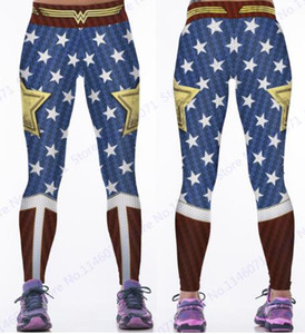 ingrosso gambali compressione fitness-Wonder Woman Yoga Compression Pants Red Fitness Leggings Elastico in vita Sports Tights Donna Blue Butter Lift Polyester Pants