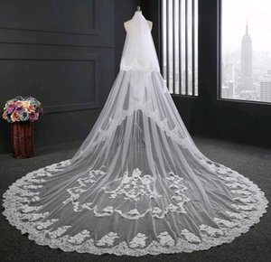 Wholesale Hot Sell Veil for Bride Real Picture m Length m Width White Ivory Lace Edge Applique Wedding Accessories Bridal Veils