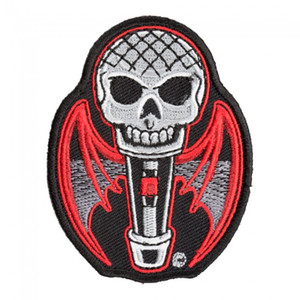 Wholesale Count Mic cula Skull Red Bat Wings Patch Microphone Embroidery Iron On Or Sew On Patches INCH