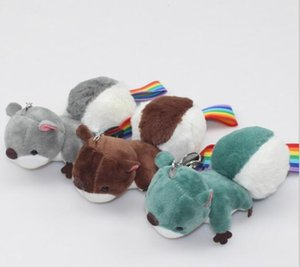Wholesale 14cm Kawaii Squirrel Plush Stuffed Animals Doll Pendant Hang Keychain Big Tail Cartoon Nice Gift Toy for Handbag Keyring
