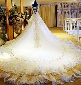white gold wedding dresses 2017 Dubai wedding gowns crystal beaded cathedral train real photo bridal gowns