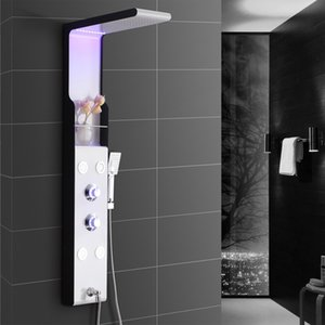 Wholesale Stainless Steel Wall Mounted Shower Panel Function Waterfall Rainfall Massage Jets LED shower set with Handle Shower LED Ceiling Light