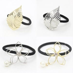 Crystal pearl flower hair rubber bands accessories gold silver plated flower leaf hair ring headband for women hair jewelry wholesale on Sale