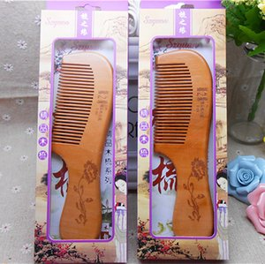 High-end gift box Manual pure natural health care peach wooden comb Anti-static Ten dollar store supplies