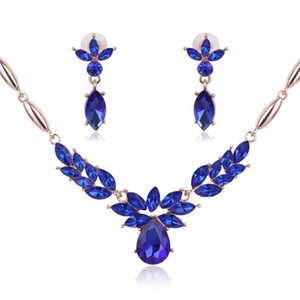 Wholesale gold pedant resale online - Crystal Flower necklace Earrings Luxury Gold Leaf Water Drop Sapphire Pedant Necklace Jewelry Set Women Bride Wedding Jewelry