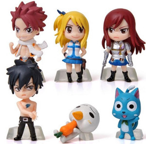 Wholesale 2017 Set Anime Cartoon Character Fairy Tail Natsu Gray Lucy Erza Figure Action Doll Toys Great Gift