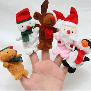 Wholesale Hot Selling Christmas Finger Puppets Santa Claus Snowman Deer Bear Penguin Plush Toys Dolls fast shipping F20172074