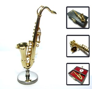 Wholesale Classic dollhouse miniature Mini Model Musical instrument Gold Alto Saxophone Sax with stand case music Gift collection