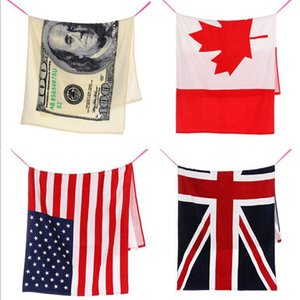 Wholesale Eco Friendly cm USA UK Flag EUROS Unisex Cotton Stripe Printed Beah Towels Bathing Towel Shower Gym Fitness Camping Towel