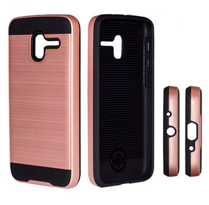 Wholesale Armor Cases For Alcatel Fierce Stellar Tru Pixi3 Hybrid Defender Protector Brushed Metal Hard Cover for ZTE Zmax Pro Z981