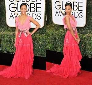 Wholesale Two Tone Ruffled Coral Chiffon V Neck Prom Dress Zoe Saldana Golden Globes 2019 Celebrity Dresses Gowns for Party Cap Sleeves Ruffles Sash
