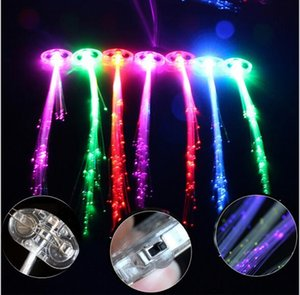 Wholesale fiber optics halloween decorations resale online - Luminous Light Up LED Hair Extension Flash Braid Party girl Hair Glow by fiber optic For Party Christmas Halloween Night Lights Decoration